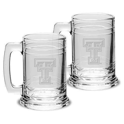 NCAA Texas Tech Red Raiders Colonial Tankard- Set of 2, Clear, 15 oz