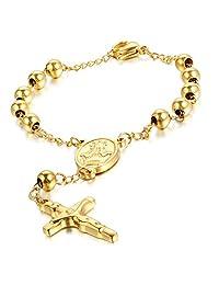 """Cupimatch Religious Stainless Steel Beaded Rosary Cross Charm Bracelet for Men Women 8.6"""""""