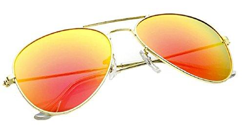 Aviator miroir soleil unique Taille Protection Lunettes Gold 70 4sold style Orange années inclus effet Étui UV 400 aviateur Unisexe Verres de 4zwCqU