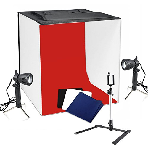 Photography 24'x24' Table Top Photo Photography Light Shooting Tent Kit Studio Light Box with Double LED Head Light Set, Camera Tripod Stand and 4 Color Backdrops