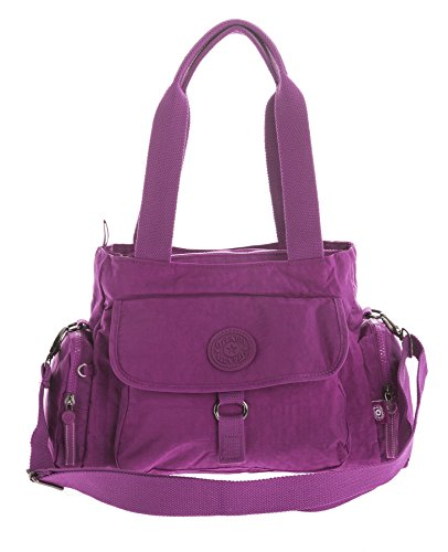 Big Handbag Shop Rainproof Fabric Lightweight Multi Compartment Baby Shoulder Bag - Medium Design 2 - Violet