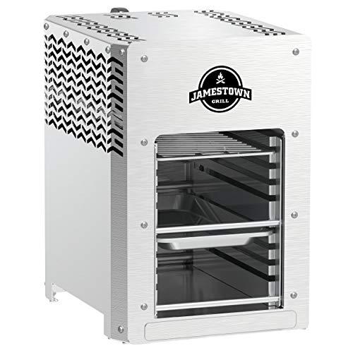 Jamestown BRAD Steakgrill mit Hochleistungs-Gasbrenner für Temperaturen von bis zu 800°C inkl. praktischer Fett…
