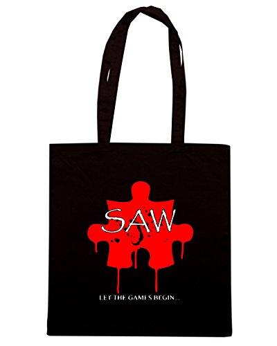 T-Shirtshock - Bolsa para la compra TR0120 SAW Puzzle T-Shirt Negro