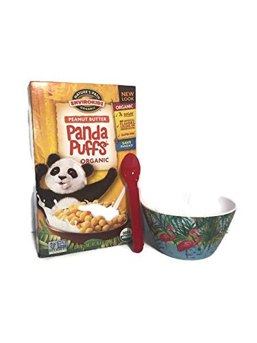 Take A Trip Into The Wild Side For Breakfast! Natures Envirokids Organic Peanut Butter Panda Puffs ! Safari Bowl , Spoon! Wake Up To A Adventure !
