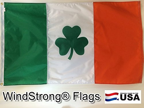 2.5x4 FT Double Sided Ireland Irish Flag St Patricks Shamrock Clover Leaf WindStrong® Flag (Sewn Stripes) Deluxe Outdoor SolarMax Nylon Flag Made in the USA