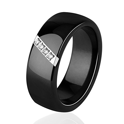 Tuhe 8MM Crystal Ceramic Ring Cubic Zirconia Stone Jewelry Engagement Wedding Band Rings Women Men (Black, 6)