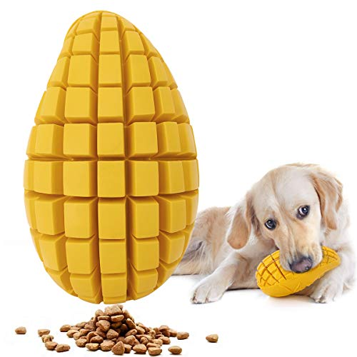 Pawaboo Dog Chew Toys, Dog Treat Dispenser Durable Tough Rubber Mango Flavor Dog Treat Toys for Boredom, Dental Care…