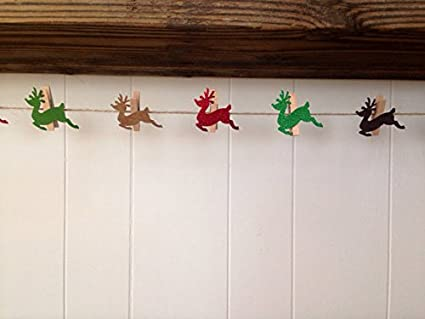 Amazon Sweet Thymes Reindeer Christmas Clothespins Banner Card Cool Christmas Card Display Stand