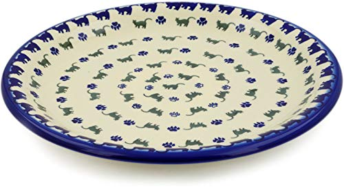 (Polish Pottery 12¾-inch Platter (Boo Boo Kitty Paws Theme) + Certificate of Authenticity)