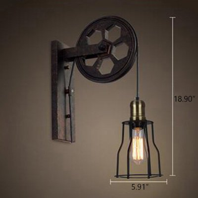 Ruanpu Industrial Vintage Adjustable 5.91'' Wide Wall Sconce with Extendable Swing Arm, Rusty Wall Light with a Wheel