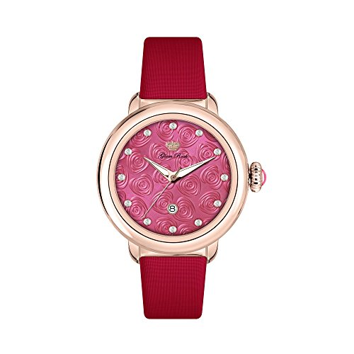 Glam Rock Women's Bal Harbour 40mm Red Satin Band Rose Gold Plated Case Swiss Quartz Analog Watch GR77003