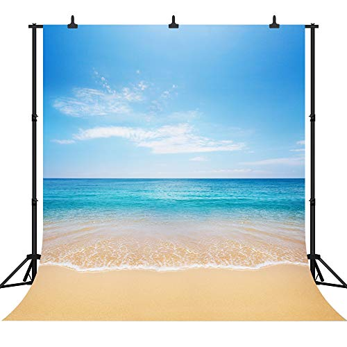 DePhoto 8x8Ft Seamless Beautiful Beach Vinyl Photography Backdrop