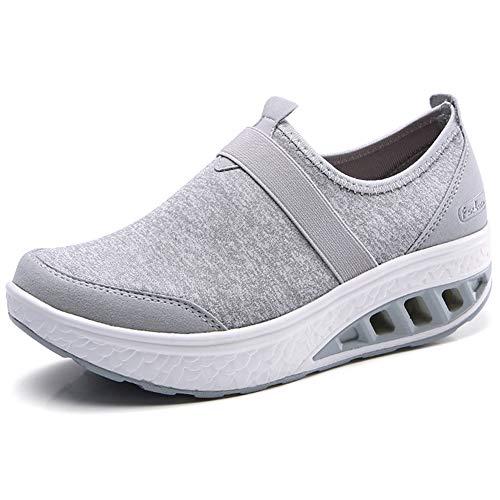 ZYEN Women Comfortable Walking Shoes Fashion Slip On Sneakers Platform Wedge Loafers Shoes Light Grey 7.5 US,SZ7697qianhui38