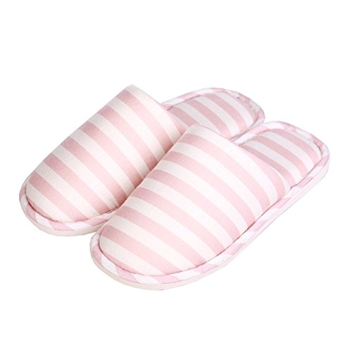 YUTIANHOME Women's Slippers Washable Soft Warm Cotton Stripes Non-Slip Flat Closed Toe Indoor Home Bedroom Shoes apricot