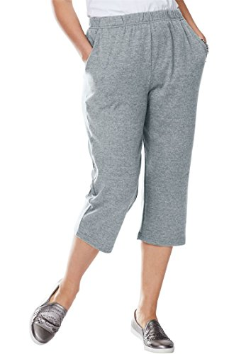 (Woman Within Plus Size 7-Day Knit Capri - Medium Heather Grey,)