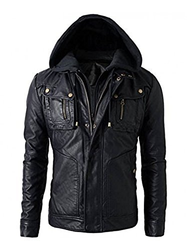 SID Military Grade Men's Motorcycle Brando Style Biker Real Leather Hoodie Jacket - Detachable Hood