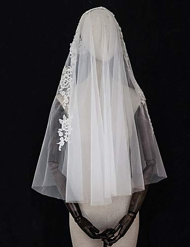 FengJingYuan-ZHUBAO Two-Tier Vintage Love Wedding Veil, Elbow Veils with Appliques Trim Tulle,Ivory