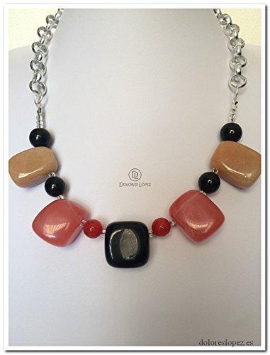 efa79194a45a Collar cadena aluminio plateada con piedras  Amazon.es  Handmade