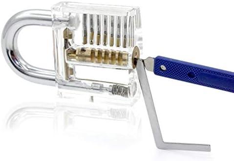 OneChois Lockpicking Set, 22 piezas Lock Pick Set Incluye 2 cerraduras transparentes para cerrajero, principiante y profesional con estuche