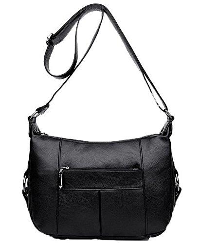 Des sacs Décontractée GMBBB180853 Noir à Pu Sacs Zippers AgooLar Cuir Mode Femme bandoulière qYn7wxPwtE