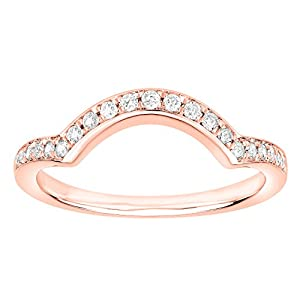 1/5 Carat (ctw) 14K Gold (I-J / I2-I3) Diamond Ladies Anniversary Wedding Stackable Band Guard Ring (rose-gold, 5.5)