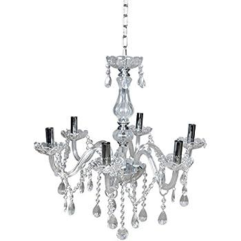 TMS Clear Crystal Chandelier Lighting 6 Lights Fixture Pendant Ceiling Lamp Lighting