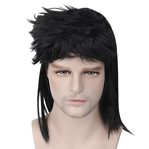 Wigs for Men, Retro 70s 80s Rocker Style Wig Punk Disco Mullet Wig Party Comstume Wigs ()