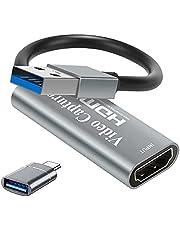 Amozo 4K HDMI Video Capture Card USB 3.0 Game Capture Card 1080P Capture Adapter voor streaming, onderwijs, videoconferentie of live-overdracht, zilverkleurig