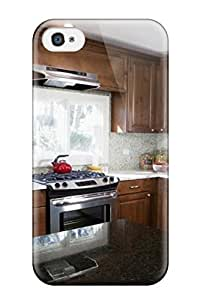 Case Cover Light Blue Kitchen With Brown Cabinetry/ Fashionable Case For Iphone 4/4s