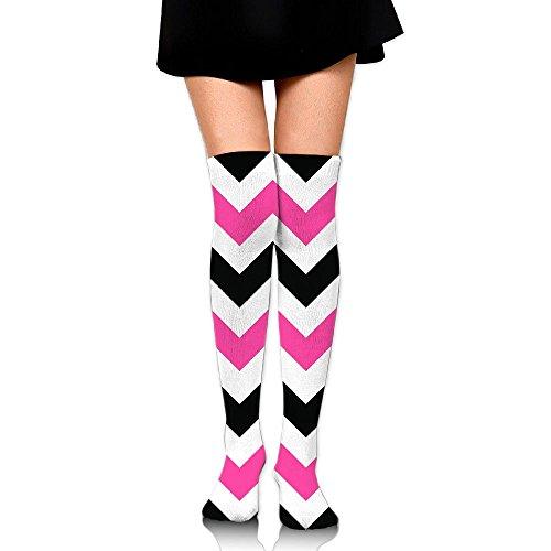 Herringbone Pattern Background Pink Cotton Compression Socks For Women. Graduated Stockings For Nurses, Maternity, Travel, Flight,Varicose Veins,Running & Fitness, Calf ()