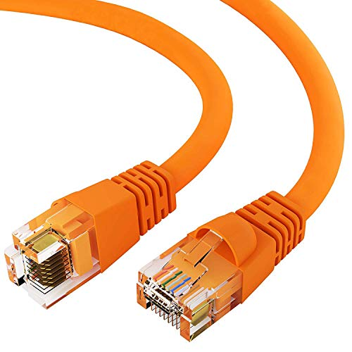 GOWOS Cat6 Ethernet Cable (100 FT - Orange) 24AWG Network Cable with Gold Plated RJ45 Snagless/Molded/Booted Connector - 10 Gigabit/Sec High Speed LAN Internet/Patch Cable - 550MHz