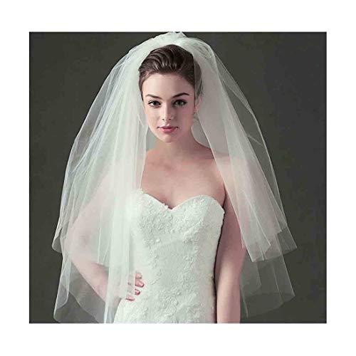 Olbye Women's Wedding Veil Two Tier Fingertip Veil Raw Edge Veils for wedding Soft Tulle Bubble Veil (Ivory)