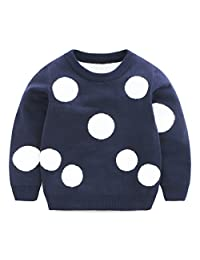 SPRMAG Kids Boys Big Dot Thick Knit Crew Neck Wool Sweater Pullover