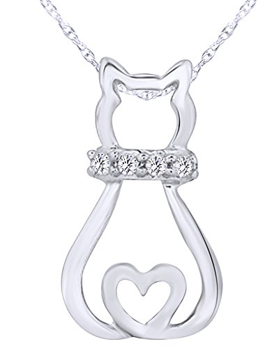 wishrocks Round Cut White Diamond Accent Sitting Cat Pendant in 14K Gold Over Sterling Silver
