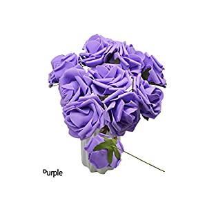 5PCS/Lot 8cm Foam Fake Roses Flowers Head for Wedding Home Decorations DIY Decorative Artificial Flowers Wreath White,Purple,8cm 1