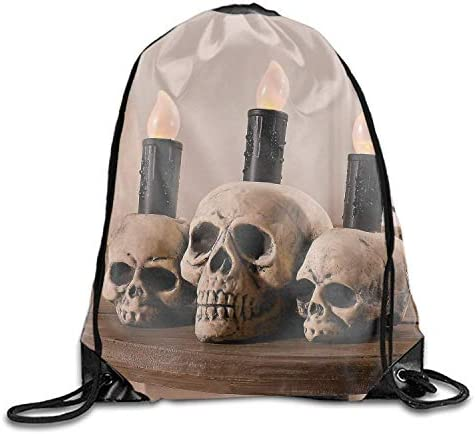 uykjuykj Tunnelzug Rucksäcke, Drawstring Bag Skulls and Candles Folding Sport Backpacks Home Travel Storage Use Skulls and Candles2 Lightweight Unique 17x14 IN