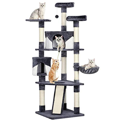 "Yaheetech 79"" Multi-Level Cat Trees with Sisal-Covered Scratching Posts, Plush Perches and Condo for Kittens, Cats and Pets (Gray and White)"