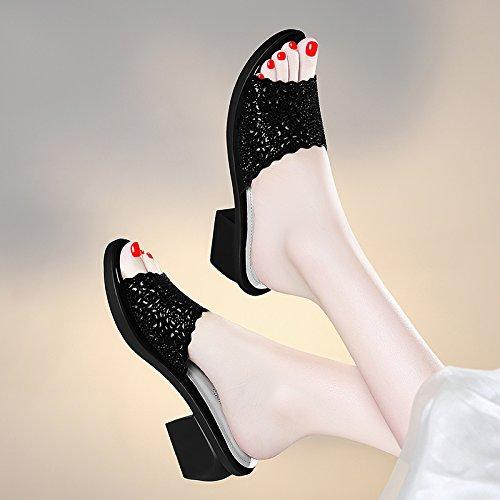 ZPPZZP Ms sandali pantofole a tacco alto Bold e il coreano-stile wild 39EU nero