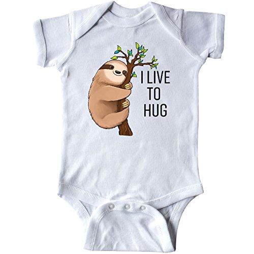 inktastic I Live to Hug- Cute Sloth on a Branch Infant Creeper Newborn White
