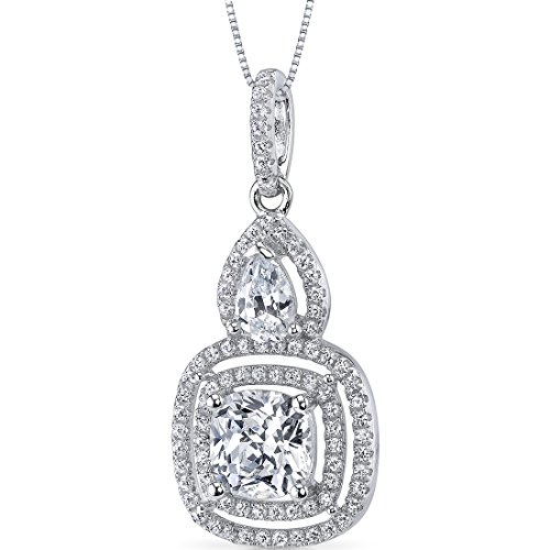Sterling Silver Halo Design Cushion and Pear Cut 2.35 Carats Cubic Zirconia Pendant Necklace