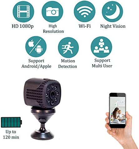 Mini Spy Camera, Hidden Wireless WiFi Cam Motion Detection, Auto Night Vision ,Portable Nanny Cam for Home Office Security and Outdoor With Free App For Android And iPhone Watch Your Kids Pet Anytime