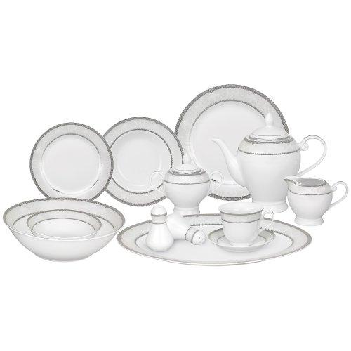 Lorren Home Trends 57-Piece Porcelain Dinnerware Set, Ballo, Service for ()