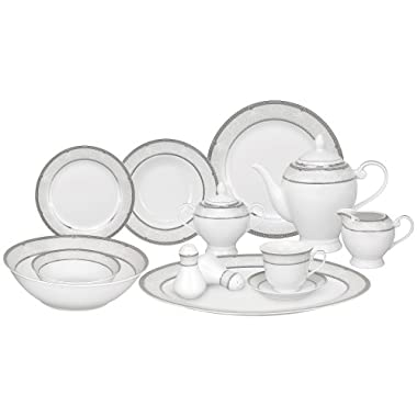 Lorren Home Trends 57-Piece Porcelain Dinnerware Set, Ballo, Service for 8