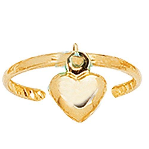 - Ritastephens 14k Solid Gold Heart Toe Ring Body Art Adjustable