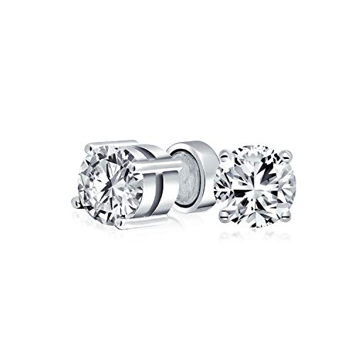 1.25CT Round Cubic Zirconia Solitaire CZ Magnetic Clip On Stud Earrings For Women Non Pierced 925 Sterling Silver
