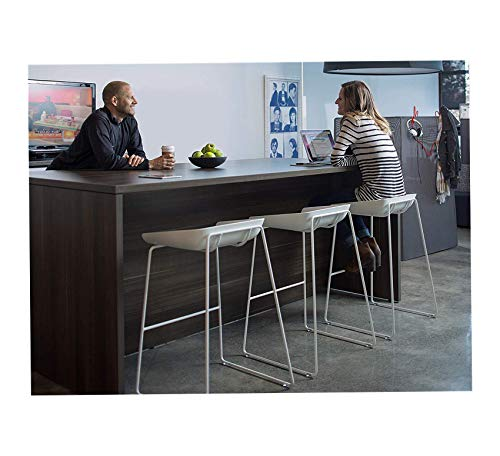 Furniture Scoop Stool with Seat, White Home Bar Pub Café Office Commercial