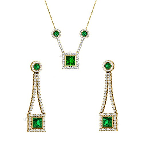 4.5 Ct Princess and Round Cut Emerald and Simulated Diamond 18k Yellow Gold Finish Earrings Pendant Jewelry Set (Earrings, Pendant (Diamond Emerald Jewelry Set)