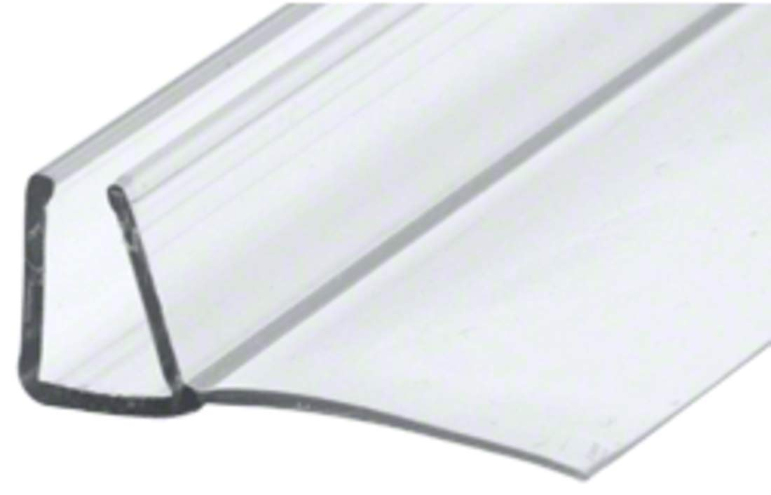 CRL Shower Door Polycarbonate with 90 degree 7/8'' Long Vinyl Fin Seal for 3/8'' Glass - 95'' Long