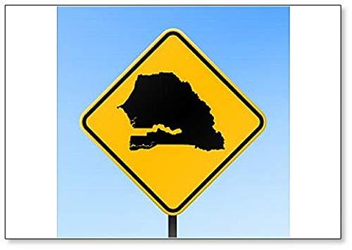 Senegal Map on Road Sign Illustration Fridge Magnet