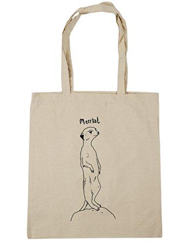 HippoWarehouse gimnasio playa bolsa de la compra bolso, diseño de suricato 42cm x38cm, 10litros Natural